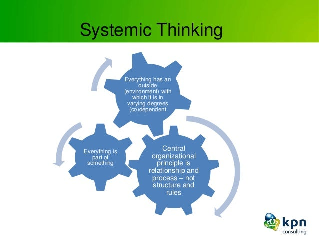 Systemic Thinking Central organizational principle is relationship and process – not structure and rules Everything is par...