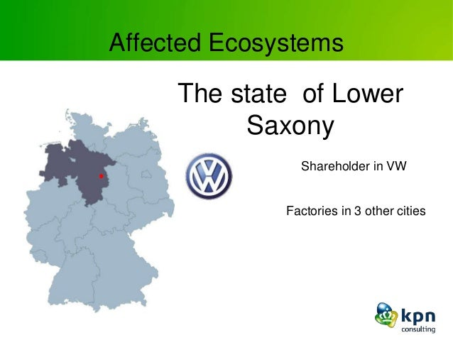 Affected Ecosystems The state of Lower Saxony Shareholder in VW Factories in 3 other cities