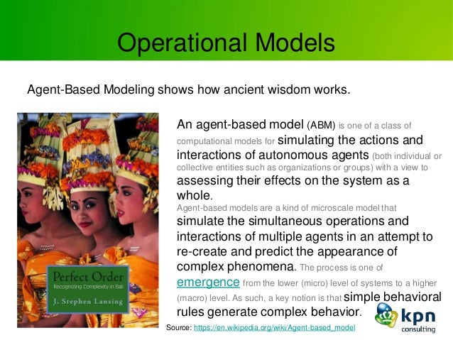 Operational Models Agent-Based Modeling shows how ancient wisdom works. An agent-based model (ABM) is one of a class of co...