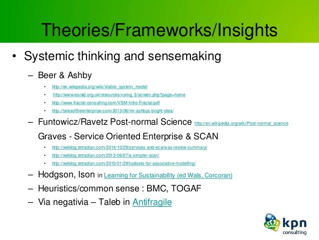 Theories/Frameworks/Insights • Systemic thinking and sensemaking – Beer & Ashby • http://en.wikipedia.org/wiki/Viable_syst...
