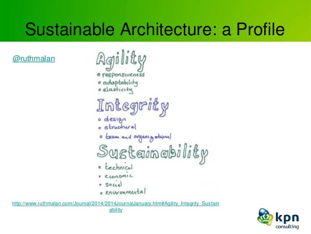 Sustainable Architecture: a Profile http://www.ruthmalan.com/Journal/2014/2014JournalJanuary.htm#Agility_Integrity_Sustain...