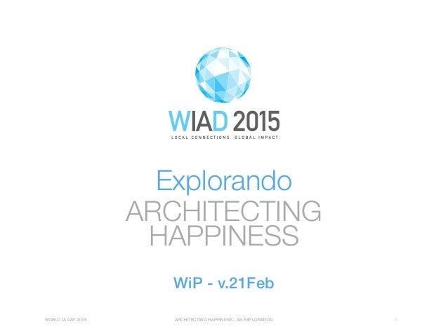 WORLD IA DAY 2015 ARCHITECTING HAPPINESS - AN EXPLORATION 1 ARCHITECTING HAPPINESS Explorando WORLD IA DAY 2015 ARCHITECTI...