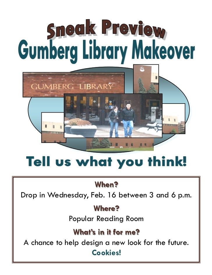 When?Drop in Wednesday, Feb. 16 between 3 and 6 p.m.                    Where?             Popular Reading Room           ...