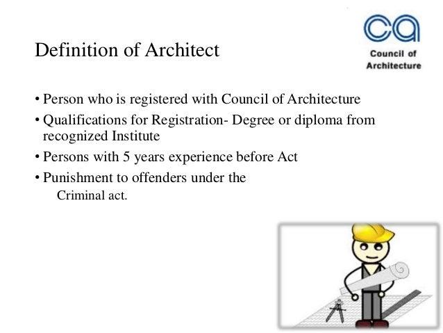 Architects act 1972 - COA Slide 2