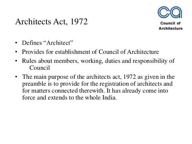 Architects act 1972 - COA Slide 3