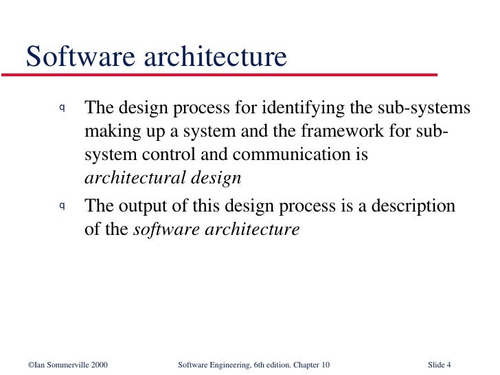 Architectural Design In Software Engineering Se10