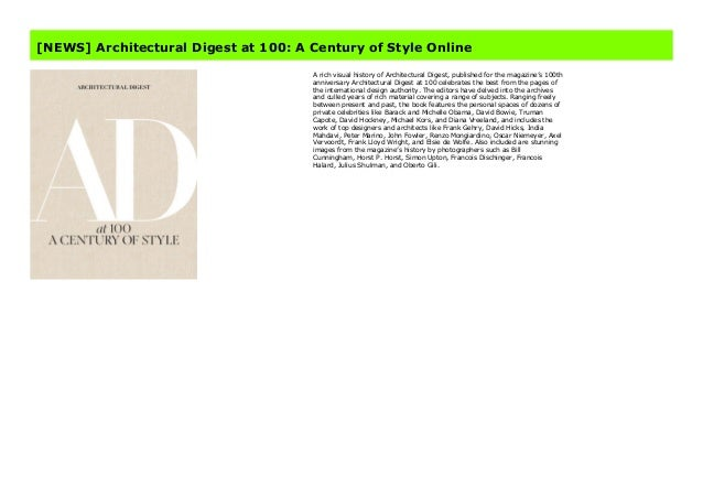News Architectural Digest At 100 A Century Of Style Online
