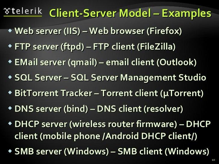 Client-Server Model – Examples <ul><li>Web server (IIS) – Web browser (Firefox) </li></ul><ul><li>FTP server (ftpd) – FTP ...