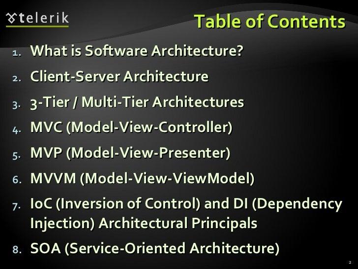 Table of Contents <ul><li>What is Software Architecture? </li></ul><ul><li>Client-Server Architecture </li></ul><ul><li>3-...