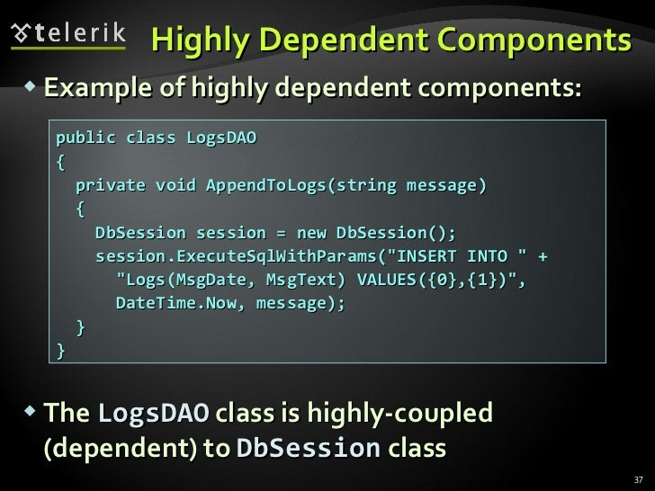 Highly Dependent Components <ul><li>Example of highly dependent components: </li></ul><ul><li>The  LogsDAO  class is highl...