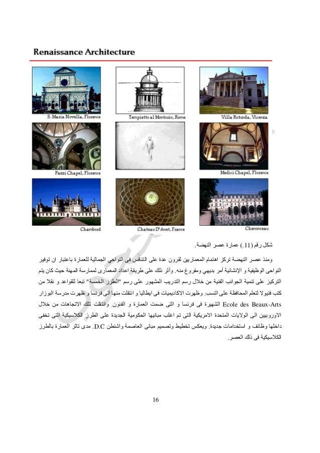 56 رقم شكل(11.)النهضة عصر عمارة. توفير ان باعتبار للعمارة الجمالية النواحي فى التنافس على عدة...
