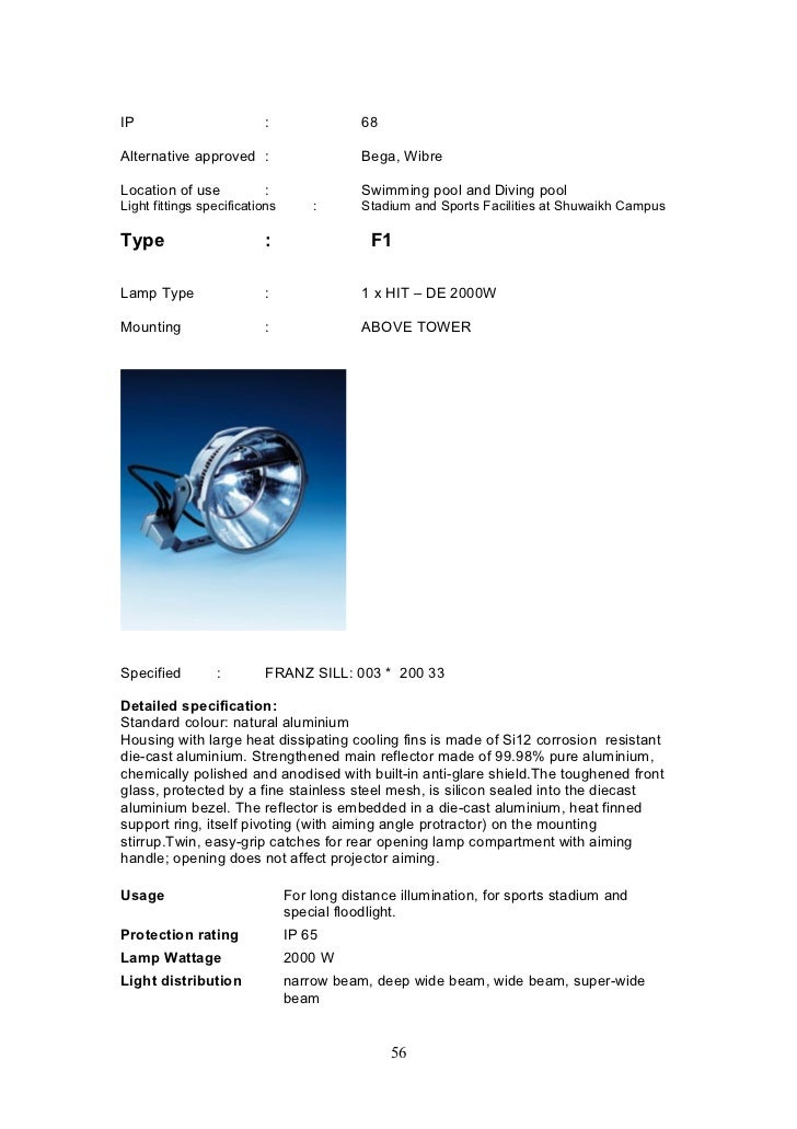 Architectural Light Fittings Specifications