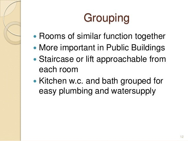 Grouping  Rooms of similar function together  More important in Public Buildings  Staircase or lift approachable from e...
