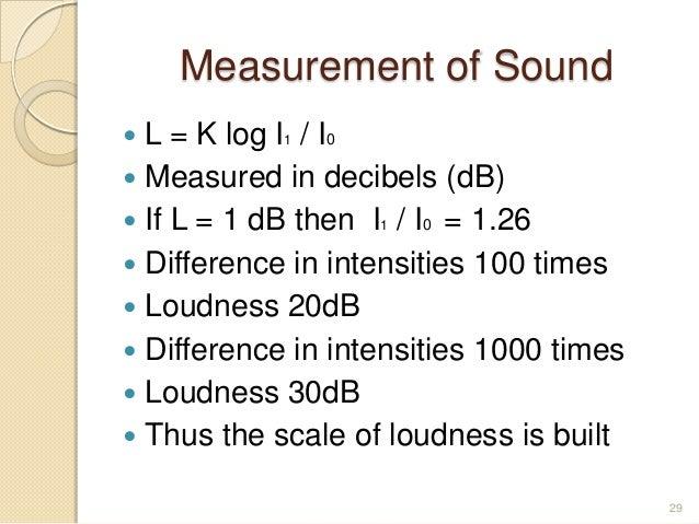 Measurement of Sound  L = K log I1 / I0  Measured in decibels (dB)  If L = 1 dB then I1 / I0 = 1.26  Difference in int...