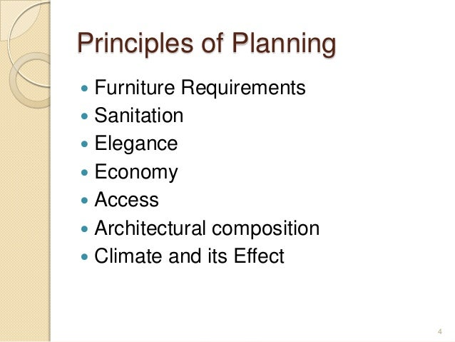 Principles of Planning  Furniture Requirements  Sanitation  Elegance  Economy  Access  Architectural composition  C...