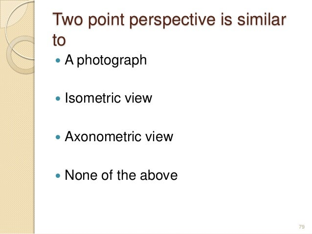 Two point perspective is similar to  A photograph  Isometric view  Axonometric view  None of the above 79