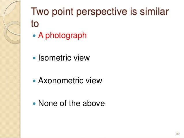 Two point perspective is similar to  A photograph  Isometric view  Axonometric view  None of the above 80