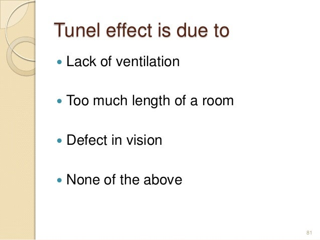 Tunel effect is due to  Lack of ventilation  Too much length of a room  Defect in vision  None of the above 81
