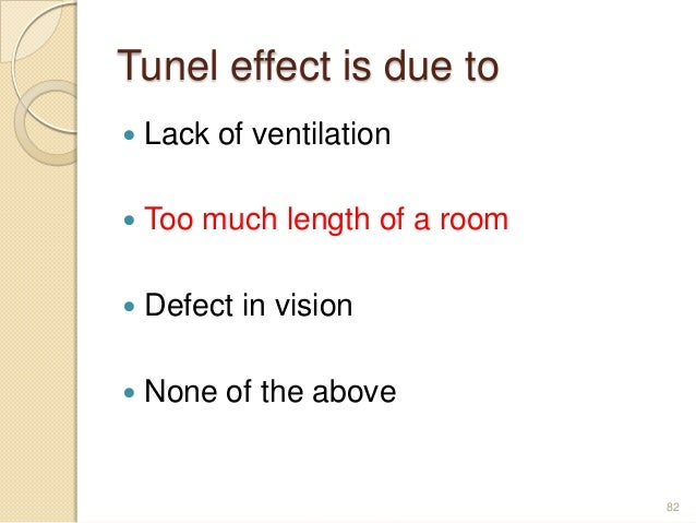 Tunel effect is due to  Lack of ventilation  Too much length of a room  Defect in vision  None of the above 82