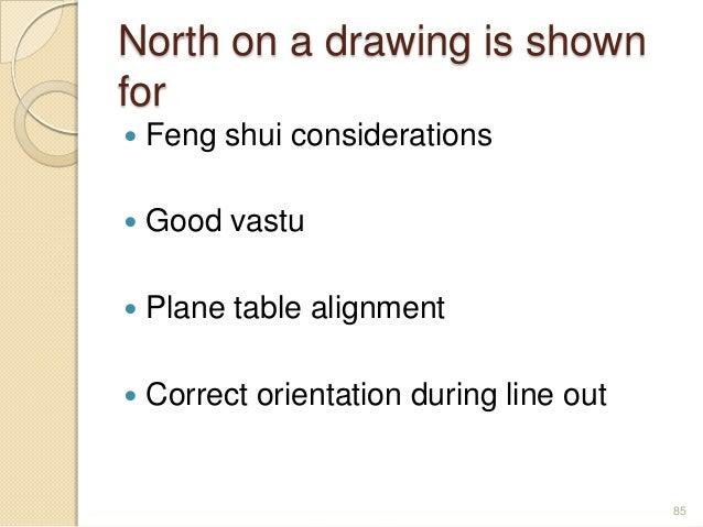 North on a drawing is shown for  Feng shui considerations  Good vastu  Plane table alignment  Correct orientation duri...
