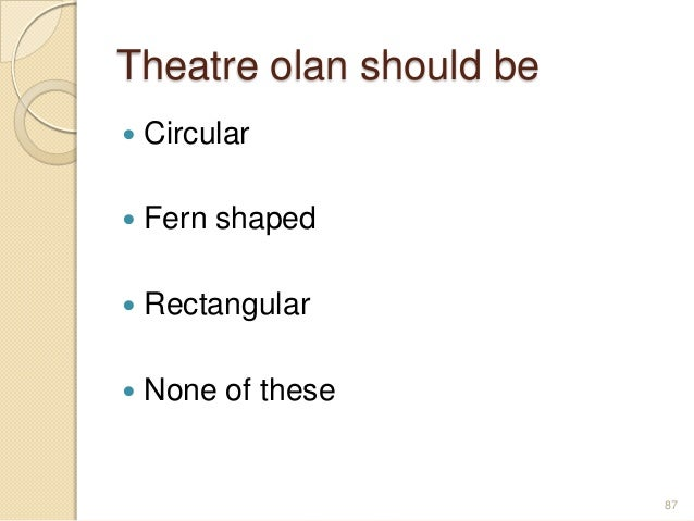 Theatre olan should be  Circular  Fern shaped  Rectangular  None of these 87