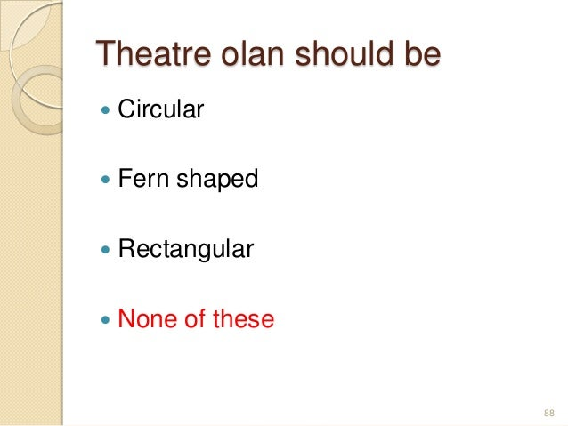 Theatre olan should be  Circular  Fern shaped  Rectangular  None of these 88