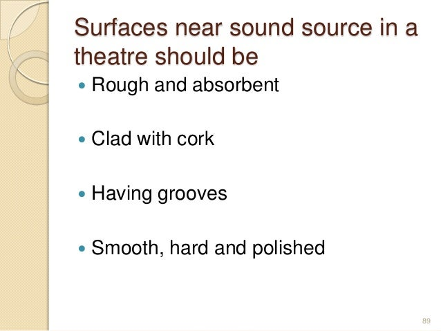 Surfaces near sound source in a theatre should be  Rough and absorbent  Clad with cork  Having grooves  Smooth, hard a...