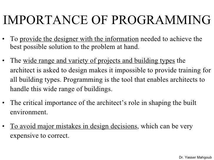 ... Mahgoub DESIGN PROGRAMMING; 11.
