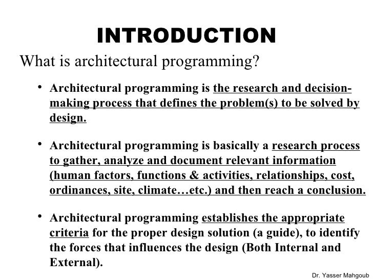 Architectural Programming Part 1; 4.