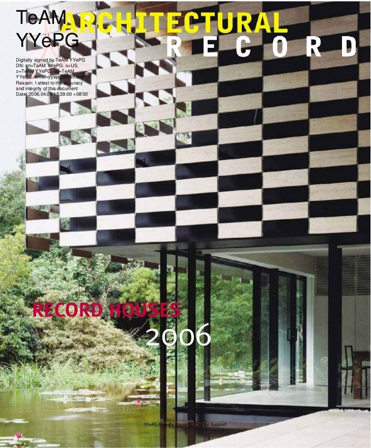 architectural record magazine april 2006