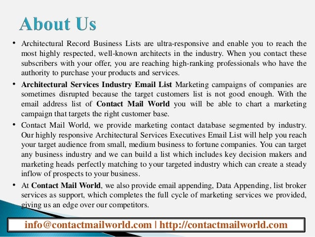 Architectural Services Industry Email List
