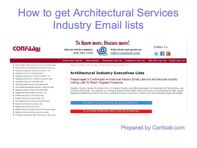 How to get Architectural Services Industry Email lists Prepared by Confaab.com