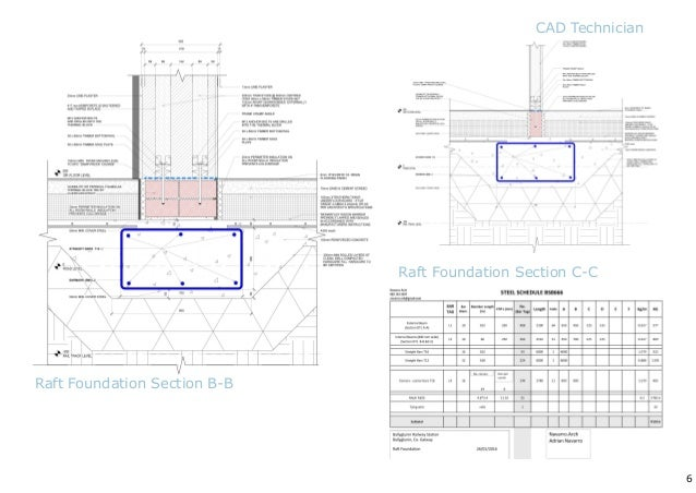 5 Raft Foundation Plan Raft Foundation Section CAD Technician; 6.