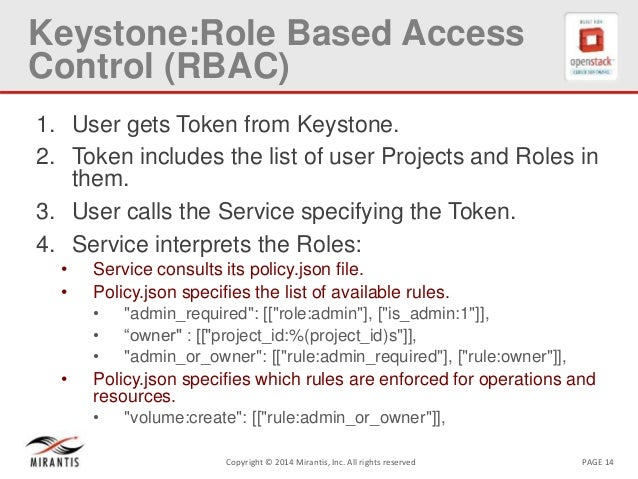 PAGE 14Copyright © 2014 Mirantis, Inc. All rights reserved Keystone:Role Based Access Control (RBAC) 1. User gets Token fr...