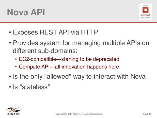 PAGE 19Copyright © 2014 Mirantis, Inc. All rights reserved Nova API • Exposes REST API via HTTP • Provides system for mana...