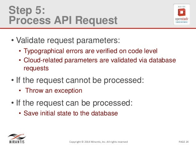 PAGE 24Copyright © 2014 Mirantis, Inc. All rights reserved Step 5: Process API Request • Validate request parameters: • Ty...