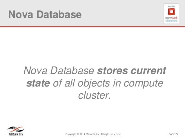 PAGE 25Copyright © 2014 Mirantis, Inc. All rights reserved Nova Database Nova Database stores current state of all objects...