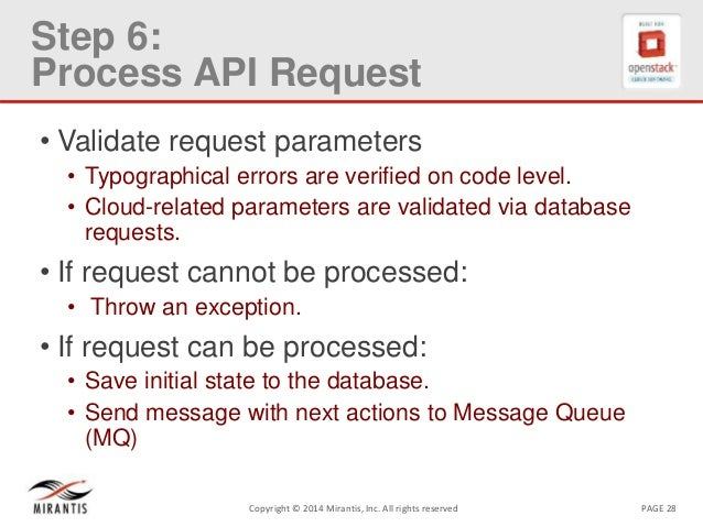 PAGE 28Copyright © 2014 Mirantis, Inc. All rights reserved Step 6: Process API Request • Validate request parameters • Typ...