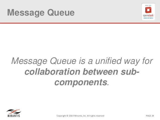 PAGE 29Copyright © 2014 Mirantis, Inc. All rights reserved Message Queue Message Queue is a unified way for collaboration ...