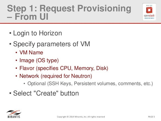 PAGE 5Copyright © 2014 Mirantis, Inc. All rights reserved Step 1: Request Provisioning – From UI • Login to Horizon • Spec...
