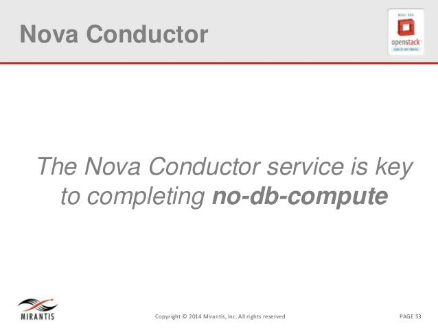 PAGE 53Copyright © 2014 Mirantis, Inc. All rights reserved Nova Conductor The Nova Conductor service is key to completing ...