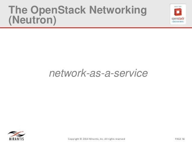 PAGE 56Copyright © 2014 Mirantis, Inc. All rights reserved The OpenStack Networking (Neutron) network-as-a-service