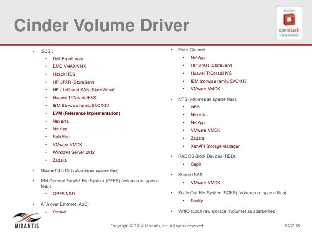 PAGE 65Copyright © 2014 Mirantis, Inc. All rights reserved Cinder Volume Driver • iSCSI: • Dell EqualLogic • EMC VMAX/VNX ...