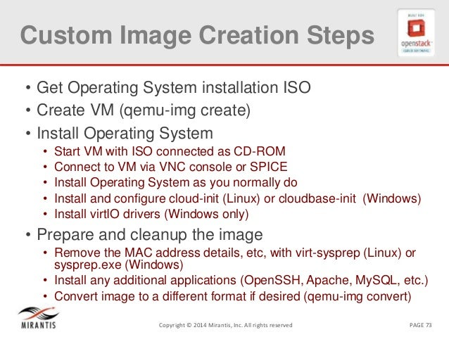 PAGE 73Copyright © 2014 Mirantis, Inc. All rights reserved Custom Image Creation Steps • Get Operating System installation...