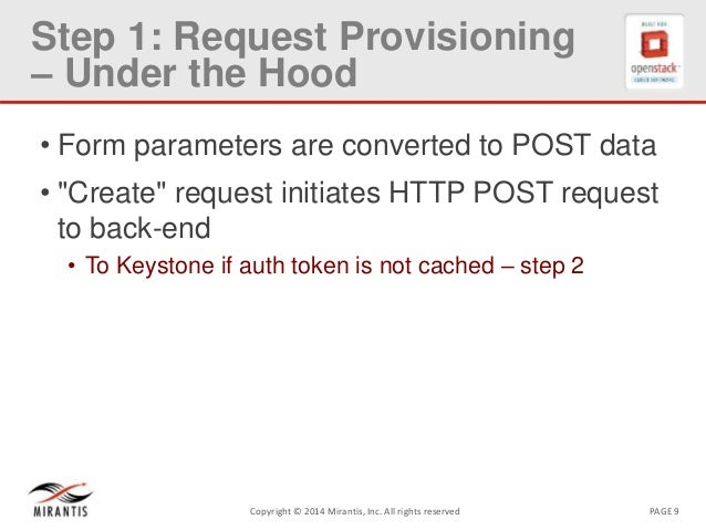 PAGE 9Copyright © 2014 Mirantis, Inc. All rights reserved Step 1: Request Provisioning – Under the Hood • Form parameters ...