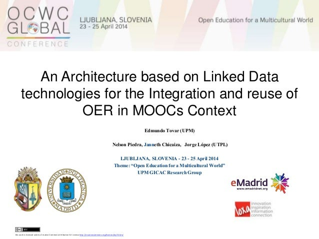 An Architecture based on Linked Data technologies for the Integration and reuse of OER in MOOCs Context Edmundo Tovar (UPM...