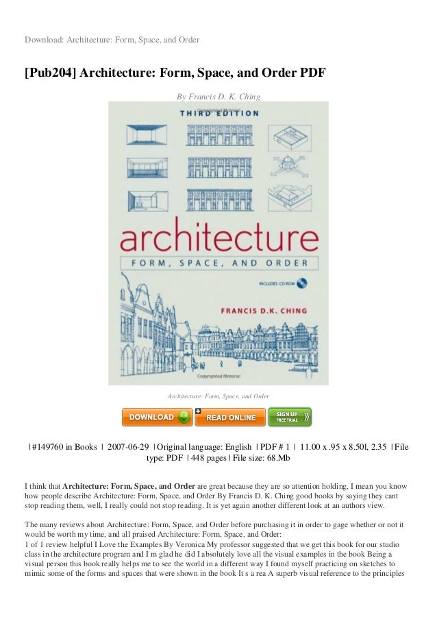Architecture Form Space And Order Pdf