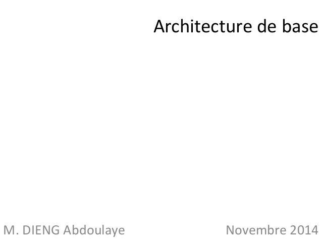 Architecture de base  M. DIENG Abdoulaye Novembre 2014