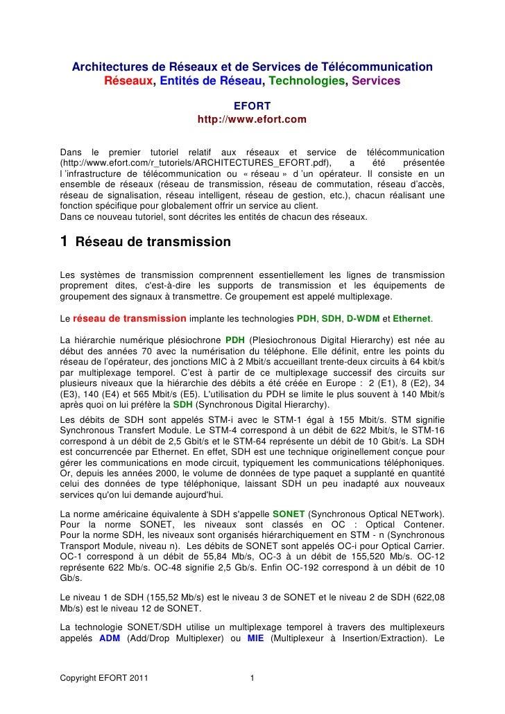 Architectures de Réseaux et de Services de Télécommunication       Réseaux, Entités de Réseau, Technologies, Services     ...