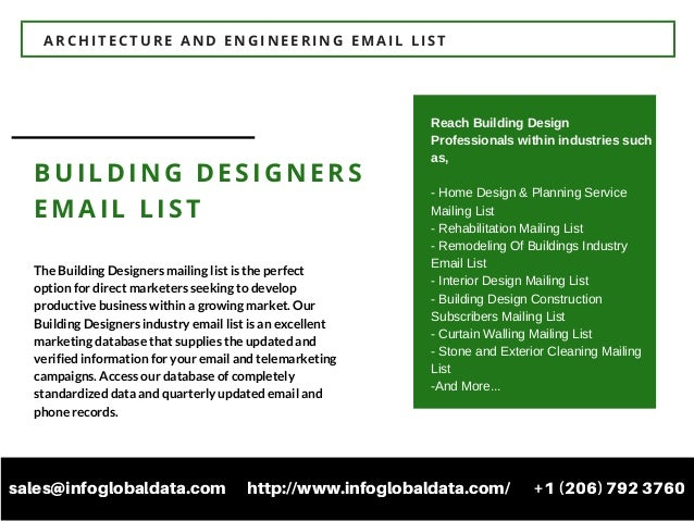 4 ARCHITECTURE AND ENGINEERING EMAIL LIST BUILDING DESIGNERS The